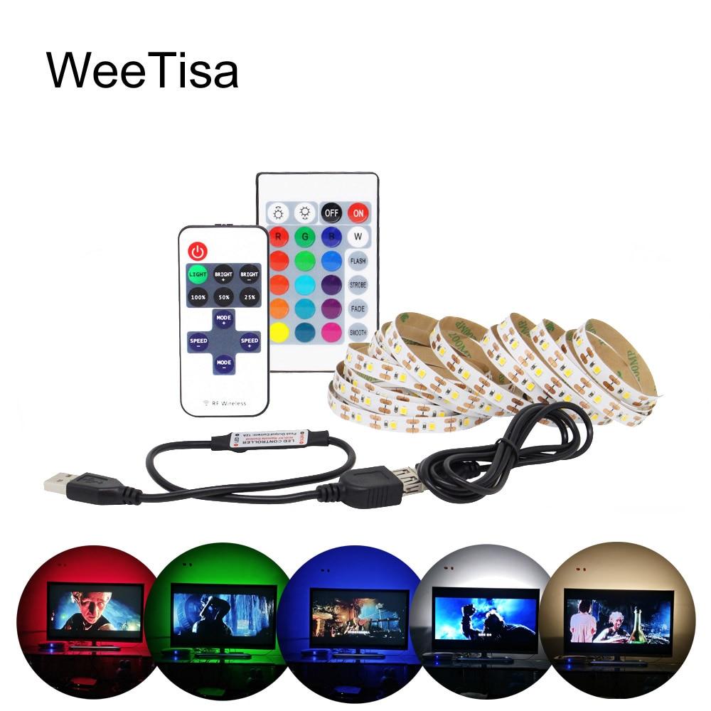 USB LED Strip Light 5V 3528 5050 RGB Music LED Tape Ribbon Lamp Ambilight TV Backlight HDTV Desktop Screen Background Lighting