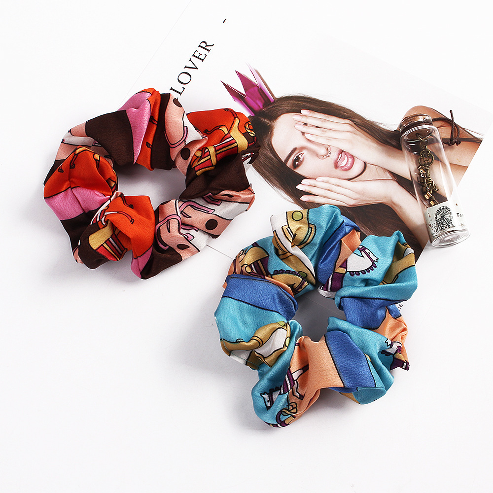 Fashion Large Size Scrunchies For Women Chiffon Print Hair Tie Quality Hair Ring For Pony Tail Elastic Rubber Bands Accessories in Women 39 s Hair Accessories from Apparel Accessories