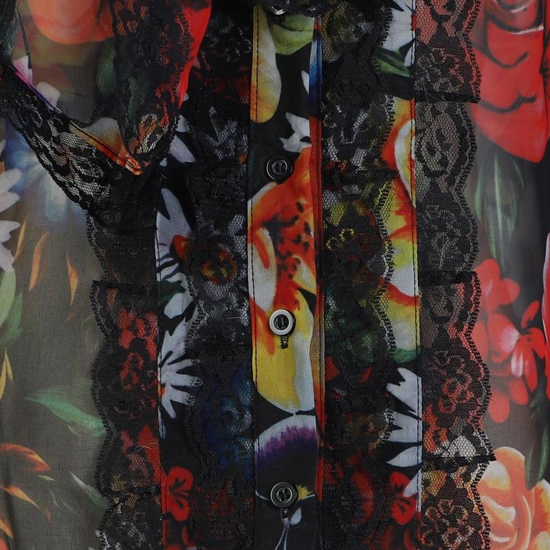 Mujeres Manga Coreano Impresión menkay Black Verano Blusa Ropa Moda Flowral Puff Camisa 2019 Arco La Collar Primavera De Dama Encaje Las x7Y7Tw