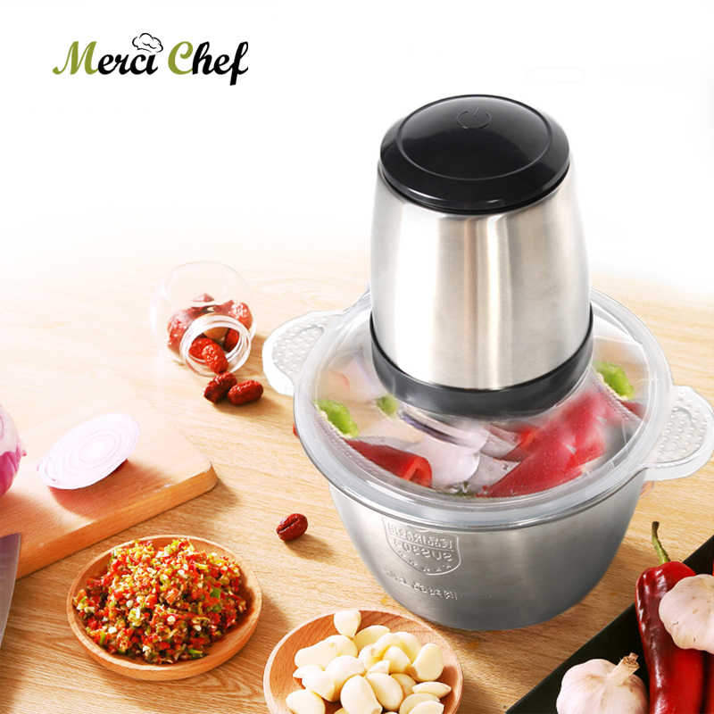 ITOP Household Mini Meat Grinder With 2L Stainless Steel Bowl Meat Chopper  Mincing Machine Kitchen Aid Mixer Food Processor