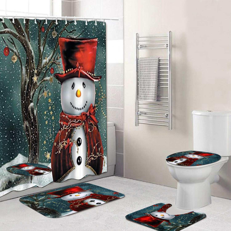 Christmas Bathroom Set Snowman Santa Father Bell Elk Pattern Waterproof Shower Curtain Toilet Cover Mat