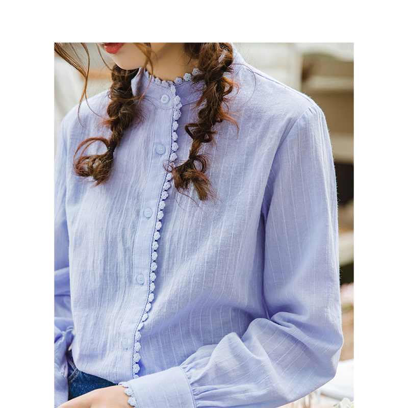 Image 4 - INMAN Spring Autumn Cotton Turn Down Collar Literary Retro Casual All Matched Loose Long Sleeves Women ShirtBlouses & Shirts   -