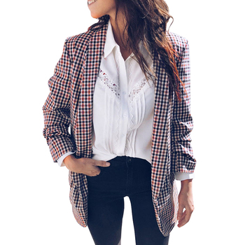 Women Vintage Plaid Blazer Cardigan Coat Long Sleeves women blazers and jackets Open Front Casual Business Suit Overcoat Outwear jeans con blazer mujer
