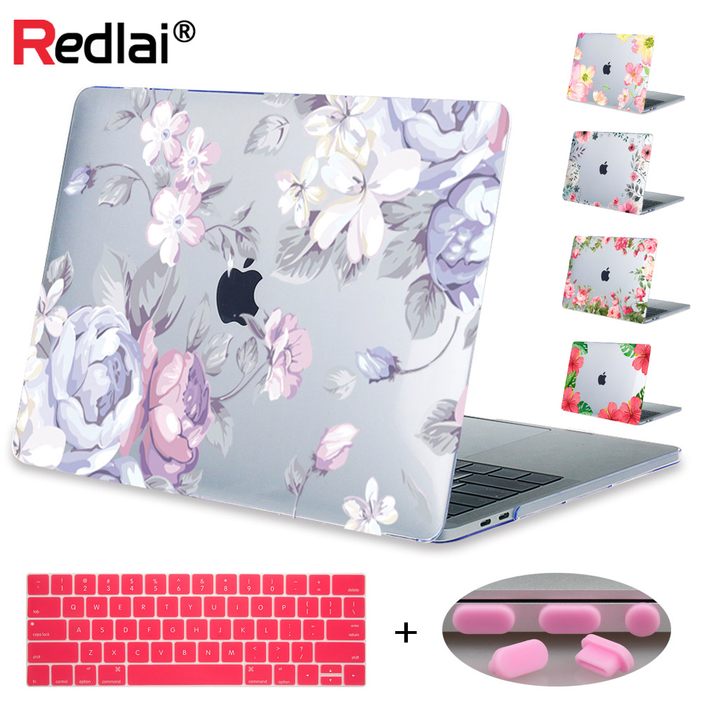 Redlai Floral Print Hard Case Sleeve Cover For Apple Macbook Pro Retina 12 13.3 15.4 Air 11 13 inch New Pro 13 15 Touchbar Shell redlai plant floral print hard case for apple macbook pro retina 13 3 12 15 4 sleeve air 11 13 3 new pro 13 15 a1706 laptop case