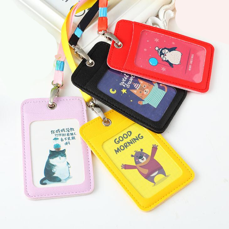 Cute Cartoon Business Card Holder Leather Card Case With Lanyard For Student Candy Color Children Badge ID Photo Card Holders