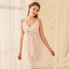 2019 Women Modal Cotton Nightgowns Sexy Lace Sleepwear Princess Nightdress Sleeveless Backless Bowknot Nightwear