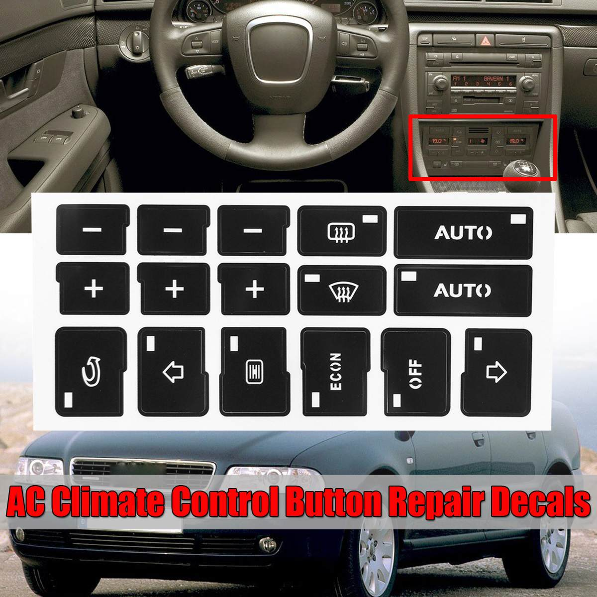 1x Car Air Condition AC Climate Control Button Repair Stickers Decals For Audi A4 B6 B7 2000 2001 <font><b>2002</b></font> 2003 2004 image