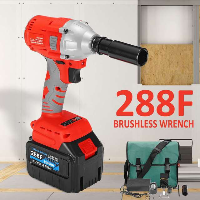 188 228 288f Cordless Electric Impact Socket Wrench 2batteries 30000mah Brushless Drill Installation Tool