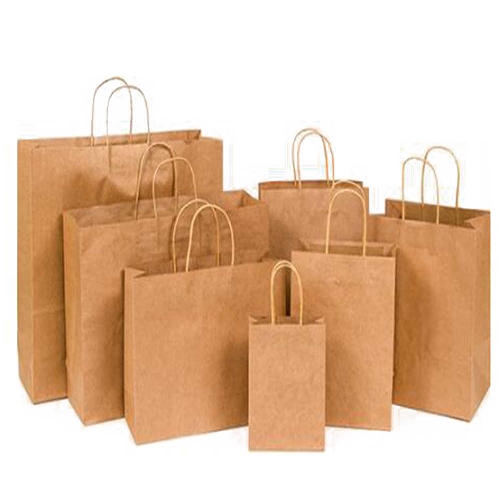 Boodschappentassen Kraftpapier Sterke Solid Brown Twist Handvat Papier Party Gift Carrier Milieu Kleding Shopper Bag