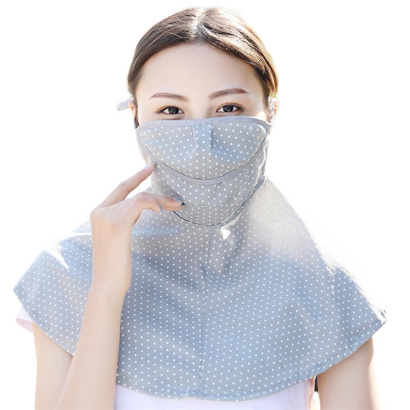 Women's Summer Thin Sunscreen Dust Breathable Masks Bandana Mask Dots Print UV Protection Face Mouth Mask Neck Gaiter
