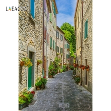 Laeacco Stone House Flower Town Street Photography Backgrounds Summer Photocall  Photographic Backdrops For Photo Studio