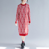 Christmas Sweater Dress New Fashion Autumn and Winter Lady Long Sleeved Sweater Dresses Red,Black Rhombic Print Clothes