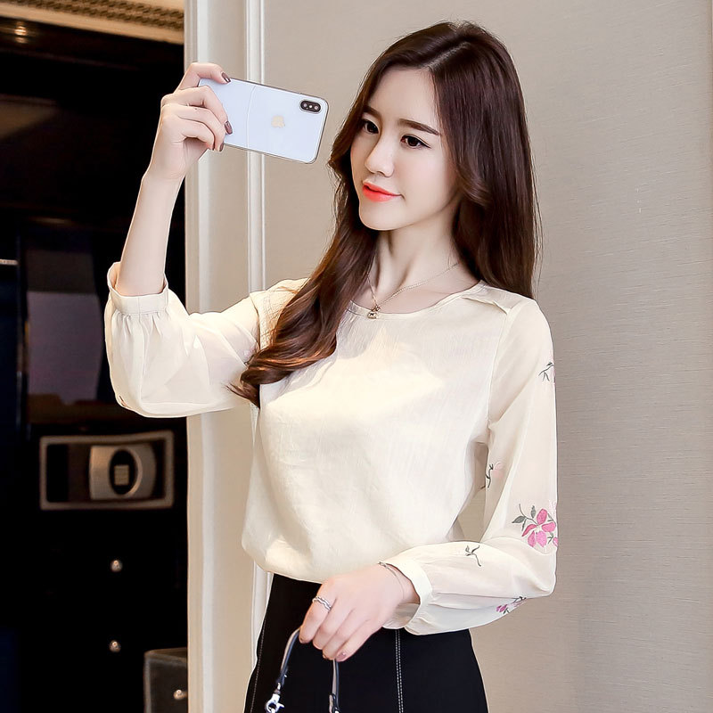 2019 New Girls Embroidered Chiffon Shirt Lengthy Sleeve Spring Korean Elegant Unfastened shirts Spherical Collar Girls's Summer time Clothes high Blouses & Shirts, Low cost Blouses & Shirts, 2019...