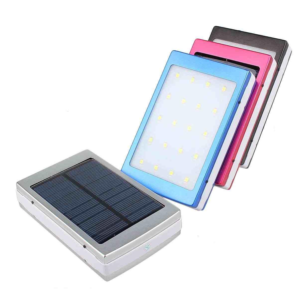 50000mAh لوحة طاقة شمسية LED جهاز باور بانك خفيف الخارجية مزدوجة USB شحن البطارية مع مهايئ شاحن بروتابلي في الهواء الطلق