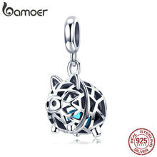 BAMOER New Collection 925 Sterling Silver Crystal Pig Animal Pendant Charms Fit Women Bracelets Necklaces DIY Jewelry SCC1006(China)