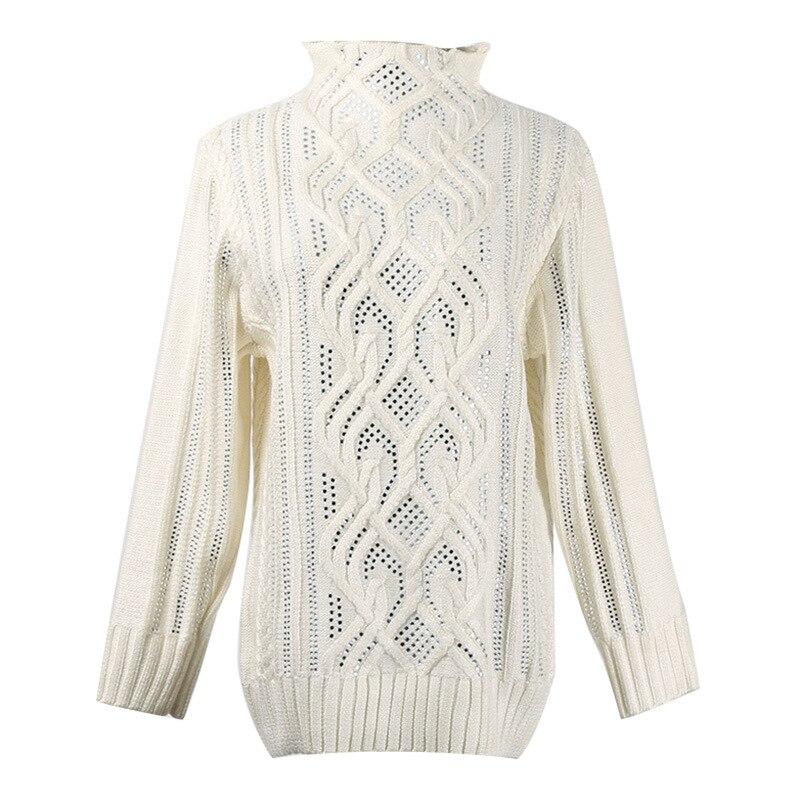 2019 printemps femmes haute qualité col roulé tricoté pull pull Designer piste diamant femme Streetwear pull vêtements