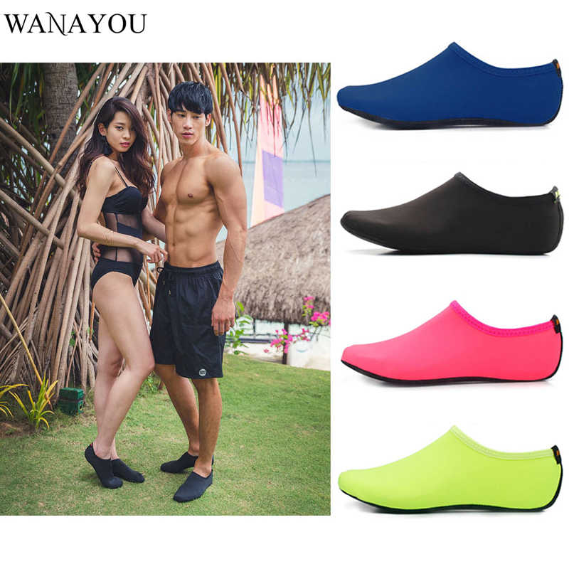 WANAYOU Men Women Light Water Shoes Solid Color Summer Aqua Beach Shoes Non-Slip Swimming Seaside Sneaker Socks For Men