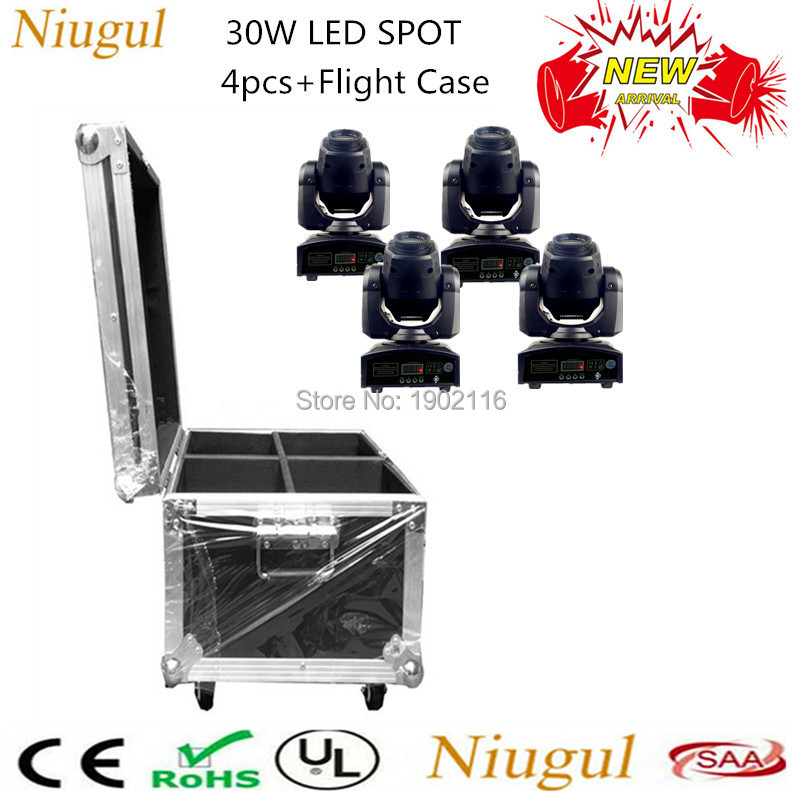 4pcs With Flight Case 30W Mini LED Spot Moving Head Light/ DJ Disco Party 30W LED Patterns Light/ LED Gobos Effect Stage Lights flight case with 2 4pcs lot quick shipment new led spot moving head light 30w 8 11 channels dmx stage light in stock