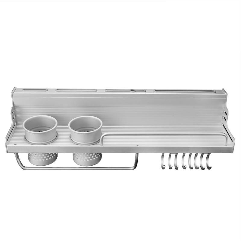 Gekwalificeerd Wandmontage Pot Pan Rack Multifunctionele Keuken Boekenplank Opbergrek Met Fles Rack Zilverwerk Caddy Bestek Blokken Hangen