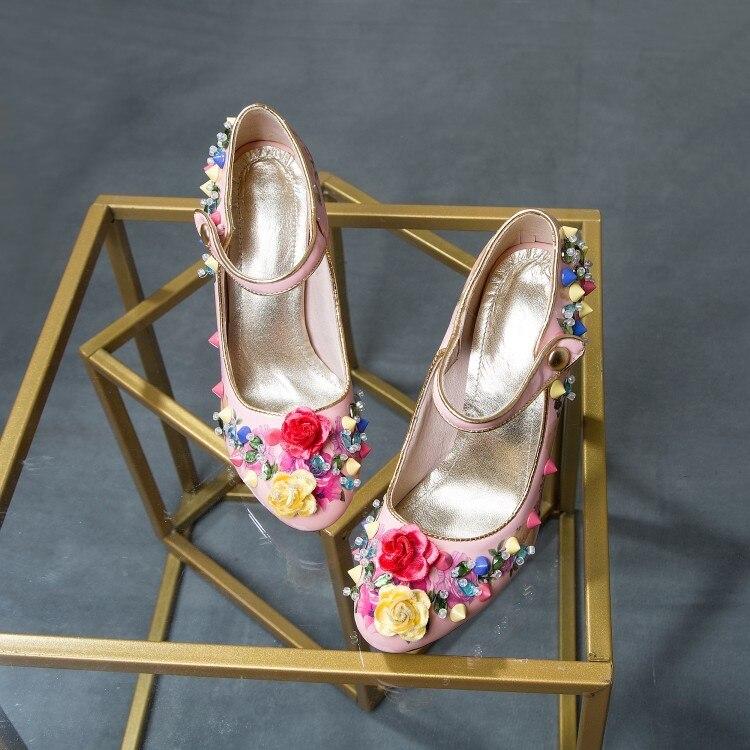 as Braut Kristall Damen Blumen Chunky Lolita Janes Neue Pic Heels Pic As Studs Zehe Pumps Süße Runde Mary High Süßigkeiten Frauen Nieten qZawBR6a