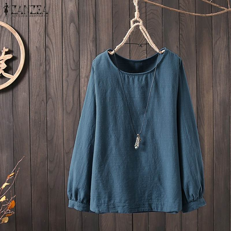 ZANZEA Summer Blouse Women Vintage Cotton Linen Shirt Femininas Lantern Sleeve Solid Tunic Tops Femme Work Blusas Casual Chemise