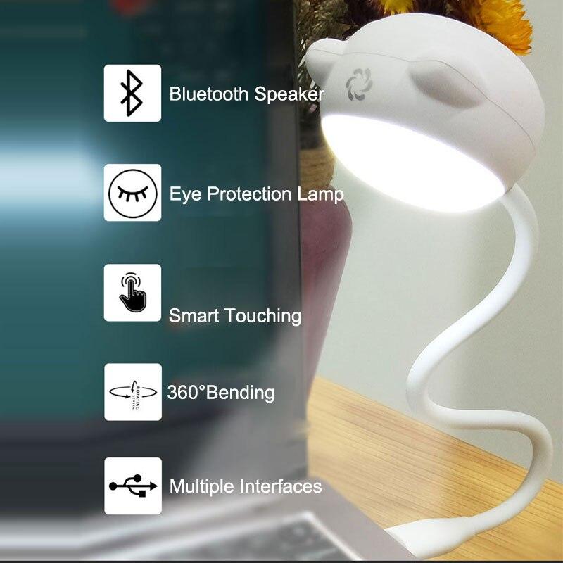 Kreative Usb Schreibtisch Lampe Mit Bluetooth Lautsprecher Flexible Tragbare L3 Smart Lautsprecher Usb Led Buch Licht Für Notebook & Computer Da