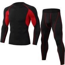 Мужская футбольная спортивная одежда, базовый слой, термобелье, облегающие колготки, рубашка, леггинсы, черный костюм для бега, компрессионная одежда