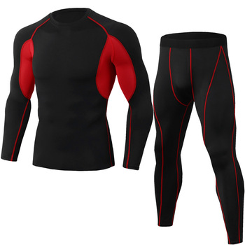 Men's Football Sportswear Basic Layer Thermal Underwear Bottoming Tights shirt Leggings Black Running Suit Compression Clothes