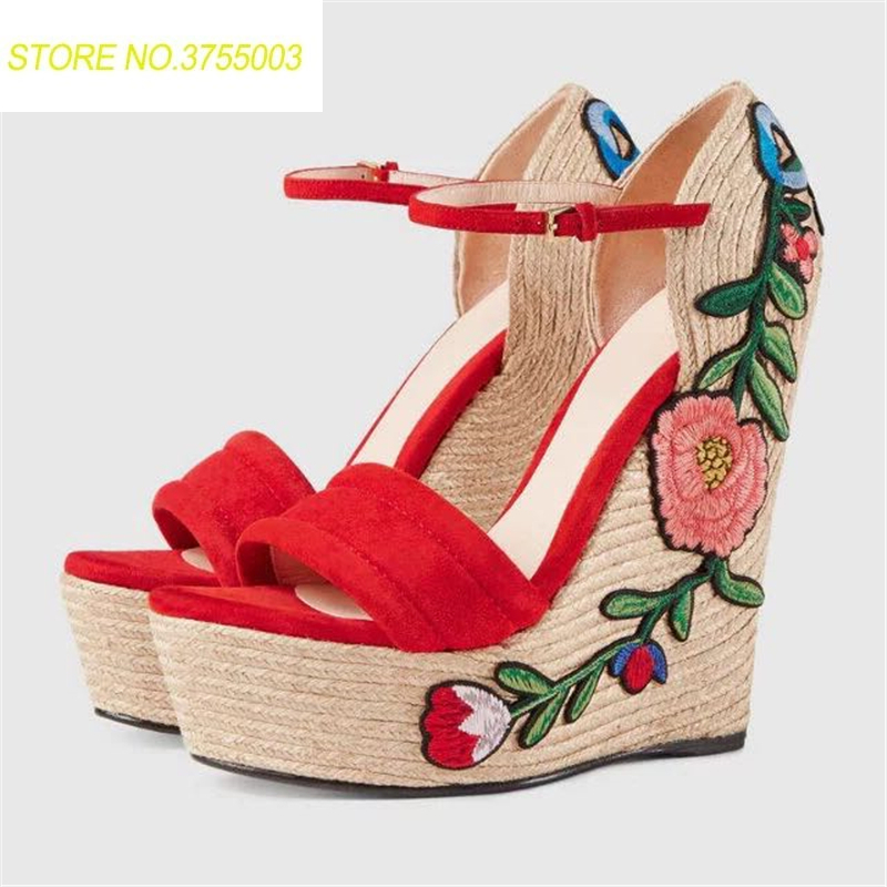 New Summer Embroidered High Patform Shoes Spadrille Flower Applique Supper High Heel Wedges Women Sandals Black Red Bowties 2018