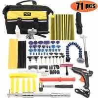 71Pcs/Set Car Dent Repair Hammer Paintless Puller Suction Lifter Glue Taps Auto Car Body Dent Damage Repair Hand Tools Kits Bag