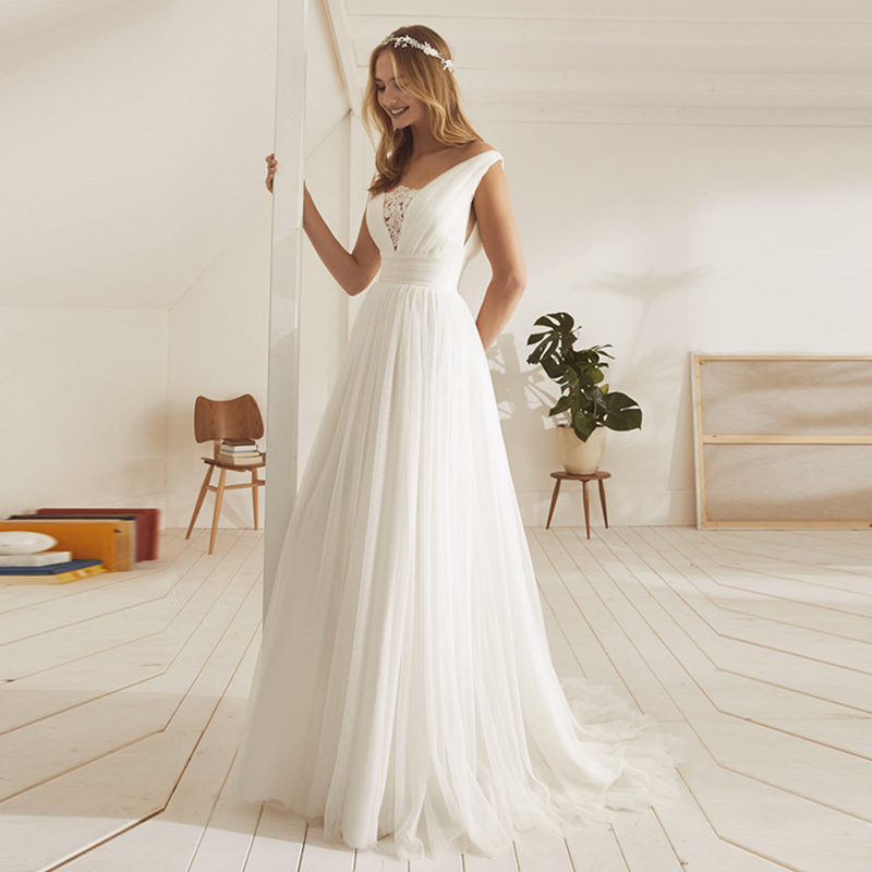 Eightale Simple Wedding Dress Beach V Neck A-Line Tulle White Ivory Wedding Gowns Plus Size Bride Dress 2019 Vestidos De Noiva