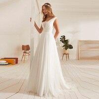 Eightale Simple Wedding Dress Beach V Neck A Line Tulle White Ivory Wedding Gowns Plus Size Bride Dress 2019 vestidos de noiva