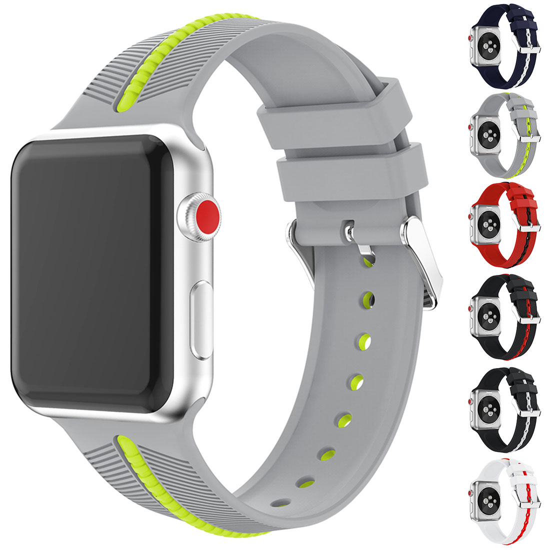 Sport Correa Bracelet Pulseira Silicone Wrist Belt Series Two-color Arrow Gel New Strap For Apple Watch Band 4 42mm