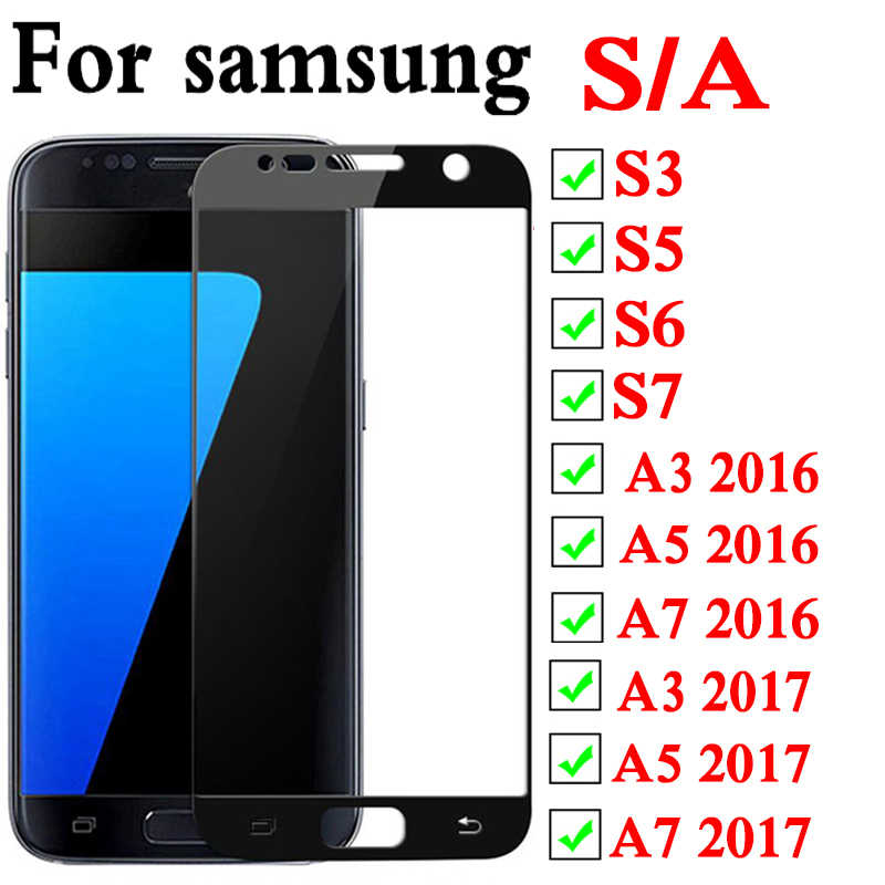 On For Samsung A3 2016 Screen Protecter Glass S6 S7 S5 A3 A5 A7 2016 2017 Tremp Glas Protective Protection 6s 7s 5a 3a 7a S A 3