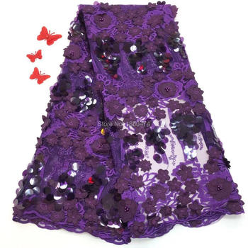 Nigerian Lace Fabrics For Wedding 2019, African French Lace Fabric High Quality 3D Lace,Purple Beads And Stones Lace Applique FJ