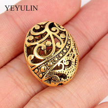5Pcs Hole Antique Gold Round European Big Hole Beads Spacer Bead For DIY Jewelry Making Charms Bracelets Accessories(China)