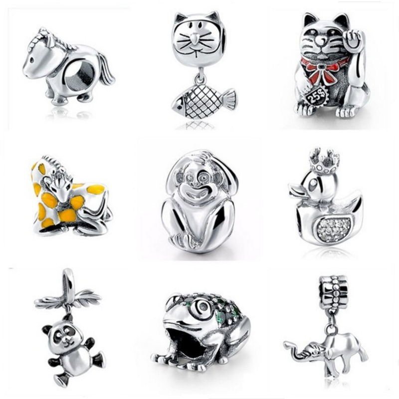 Strollgirl New Authentic 925 Sterling Silver Original Macaco gato Cavalo Charme Beads Fit Pulseira Europeia DIY Jóias Para Presentes