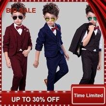 Children Suit Baby Boys Suits Kids Blazer Formal For Weddings Clothes Set Jackets+Vest+Pants 3pcs 2-10Y