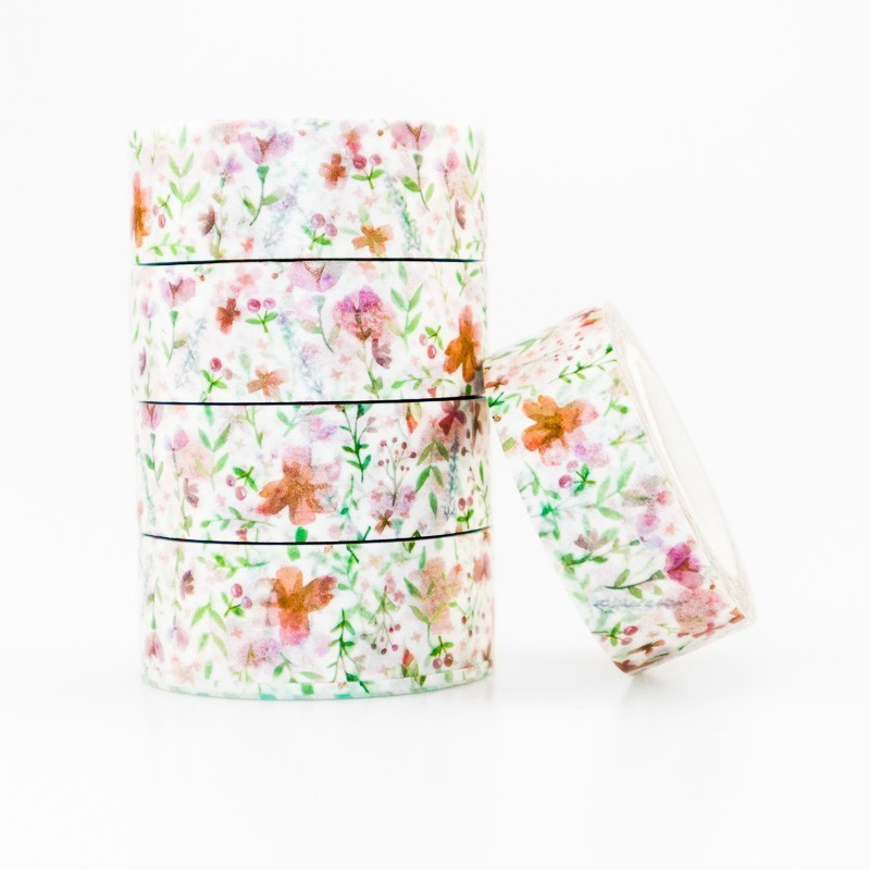 Spring Flowers Grass Pattern Washi Masking Tape Sticky Color Decorative Tape Set DIY Decoration Office Stationery Scrapbook 1PCS