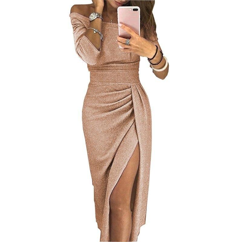 Plus Größe Bodycon Kleid Frauen Party Nacht 2019 Damen Glitter Pailletten Abend Midi Kleider Sexy Off Schulter Vestido Fiesta Mujer