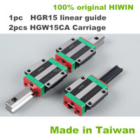 Best prices ! 100% HIWIN 1pc HGR15 200 250 300 400 500 600mm linear guide rail with 2pcs linear block carriage HGW15CA CNC parts