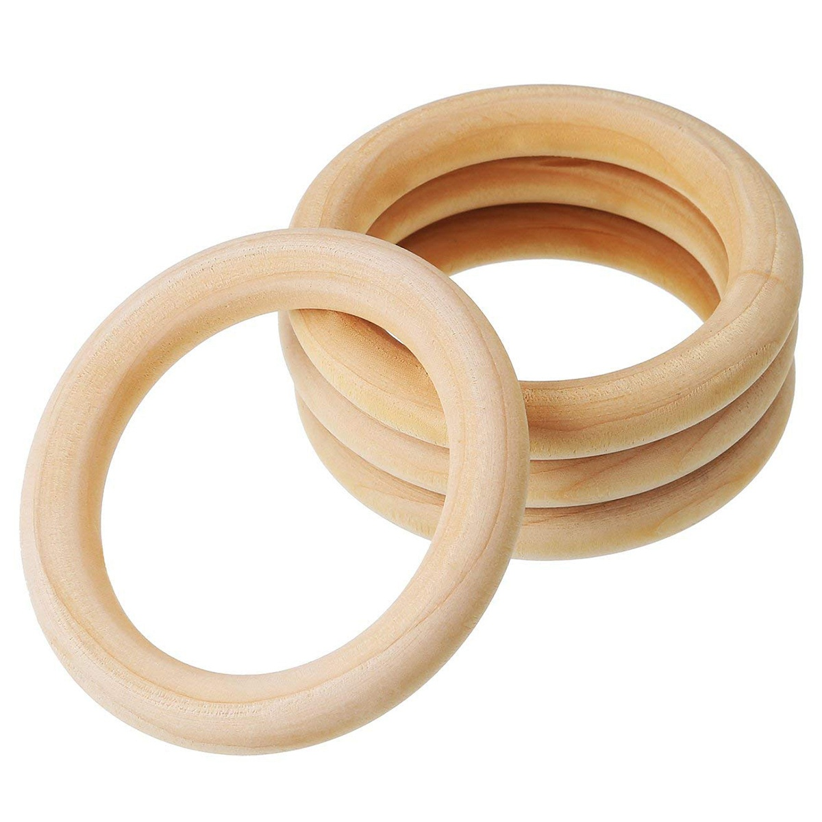 uxcell Natural Wood Rings Unfinished Wooden Circles for DIY Craft Making Ring Pendant and Connectors 45mm 20 Pcs