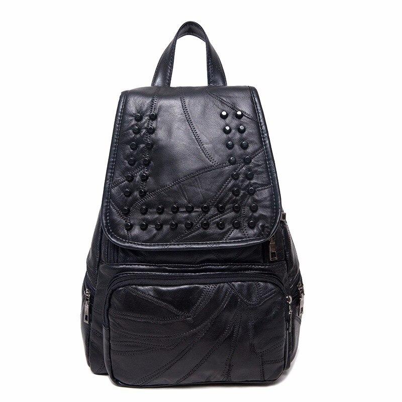 Véritable sac à dos en cuir de peau de mouton à deux épaules sac à dos loisirs en peau de mouton sac à dos de Style scolaire Rivet pour femme