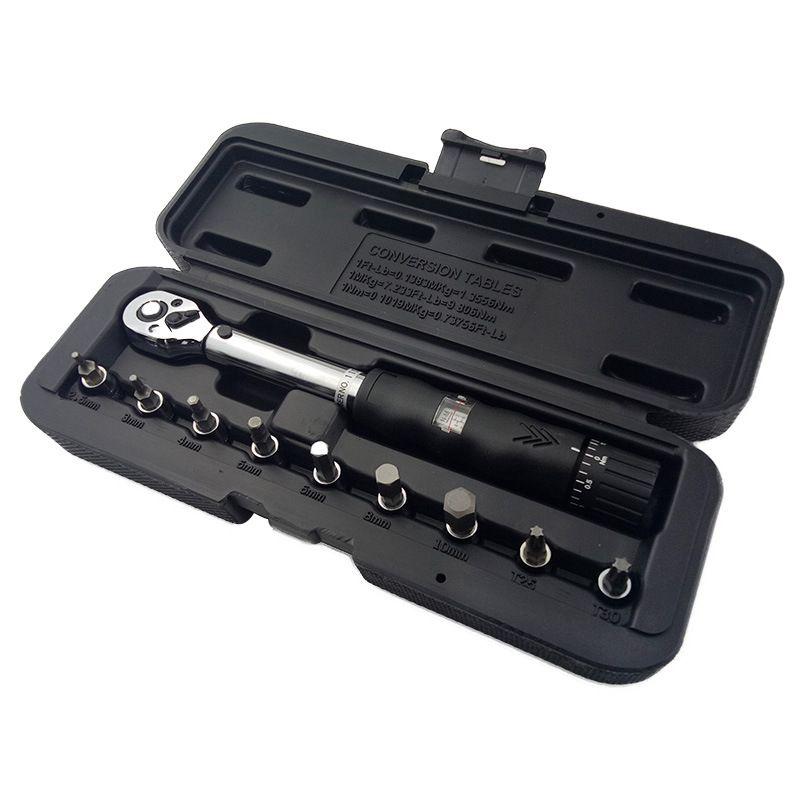 Nouveau 1/4 pouces DR 2-14Nm vélo clé dynamométrique ensemble vélo réparation outils kit cliquet mécanique clé dynamométrique manuelle clé dynamométrique