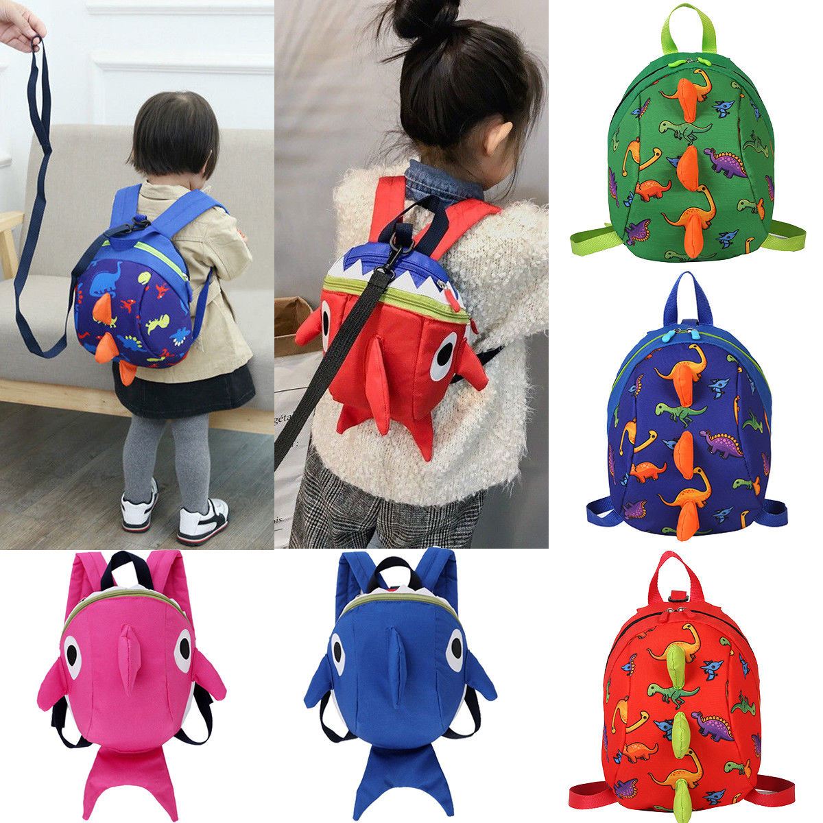 Kids Baby Safety Harness Backpack Leash Toddler Anti-lost Dinosaur Shark Bag Cute Children Backpacks