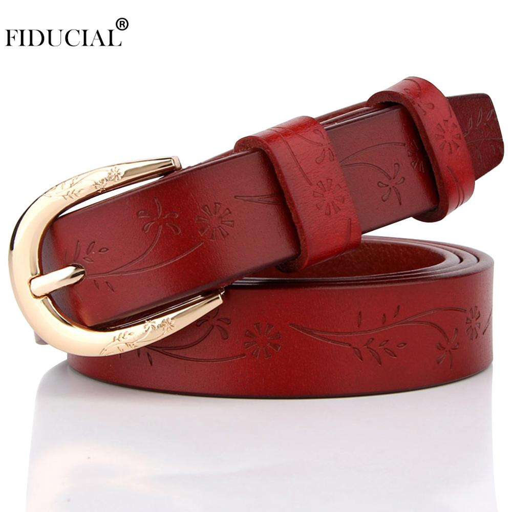 FIDUCIAL Brand Name Fashion Design Floral Genuine Leather Female Belt Women's Gold Pin Buckle Metal Belts 2.3cm Wide 2019 FCO066