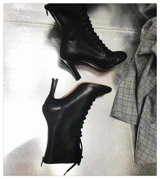 Femmes Beige Chaussons Bottes Partie Show Brun Show Carré Dames Mode Noir Cuir Défilé As Orteil Talons Stiletto En Hauts À as Bottines Lacets vUCqdRw