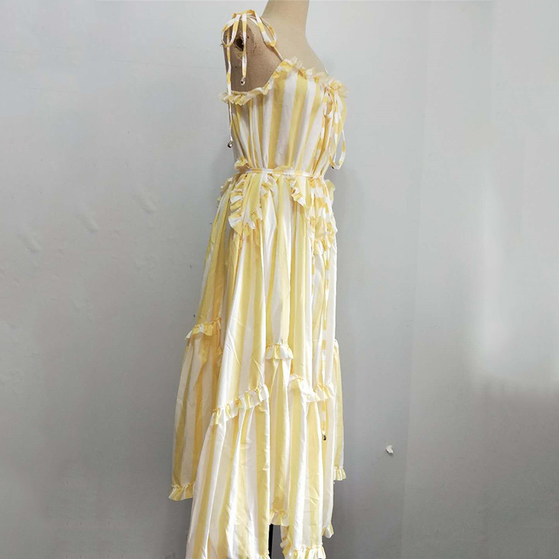 TWOTWINSTYLE Striped Dress Lace Up Backless Ruffles Patchwork Irregular Draped Long Spaghetti Strap Dresses 2019 Summer Sweet