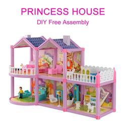 Casa de bonecas villa diy montado casa doce castelo modelo simulação playset brinquedos conjunto com desenhos inodoros e requintados