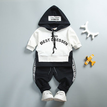 Kids boy sports suit cotton spring and autumn letters long sleeve hooded shirt + pants children's clothing цены